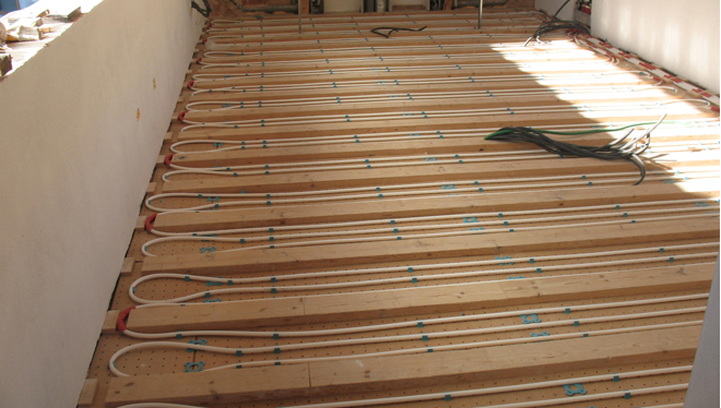 Radiant floor system for eco-house in Vicenza