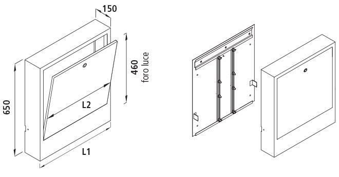 Misure cassetta di distribuzione da esterno