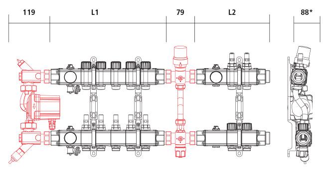 Disegno tecnico con misure Command Duo SL