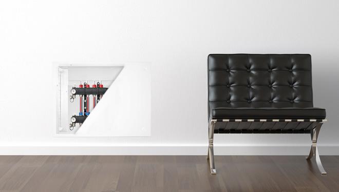 Regolazione climatica con valvola  miscelatrice a tre vie  Command Mix SL assemblato in cassetta di distribuzione