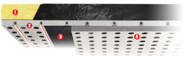 Sistema radiante a soffitto acustico alta resa con cartongesso con grafite