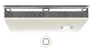Resa soffitto radiante Leonardo LUX per inserimento di illuminazione, bocchette aria, impiantistica varia