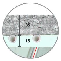 Sistema radiante a soffitto Leonardo 3,5 IDRO sezione isolante EPS con grafite 35 mm e cartongesso IDRO 15 mm