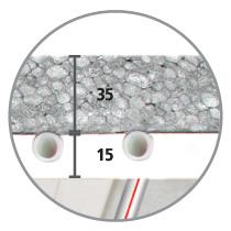 Sistema radiante a soffitto Leonardo 3,5 sezione isolante EPS con grafite 35 mm e cartongesso 15 mm