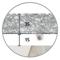 Sistema radiante a soffitto Leonardo sezione 15 mm cartongesso e 32 mm di isolante in EPS