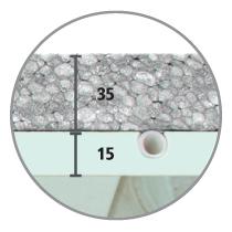 Sistema radiante a soffitto Leonardo sezione 15 mm cartongesso idro e 32 mm di isolante in EPS con grafite