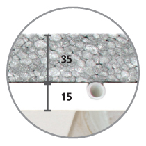 Sistema radiante a soffitto Leonardo sezione 15 mm cartongesso e 32 mm di isolante in EPS con grafite