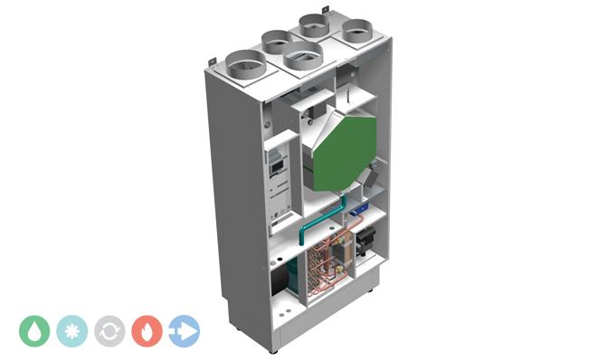 Unità di ventilazione meccanica controllata Deuclima-VMC 300 SV e VMC 500 SV verticale con recuperatore di calore ad alta efficienza e trattamento dell'aria
