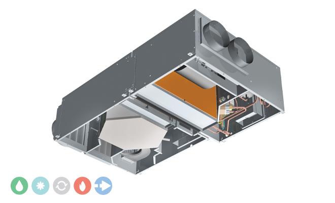 Unità di ventilazione meccanica controllata Deuclima-VMC DEU-REC 450 S da controsoffitto con recuperatore di calore ad alta efficienza e trattamento dell'aria