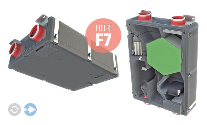 Unità di ventilazione meccanica controllata VMC 120 SV e VMC 240 SV verticale e orizzontale con recuperatore di calore ad alta efficienza