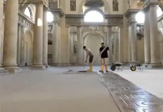 Ristrutturazione impianto radiante a pavimento a basso spessore Zeromax chiesa San Agostino Volumnia Gallery Piacenza