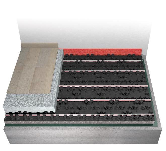 Impianto radiante bugnato termoformato Eurotherm euroflex-extra con lastra isolante in EPS sinterizzata con grafite