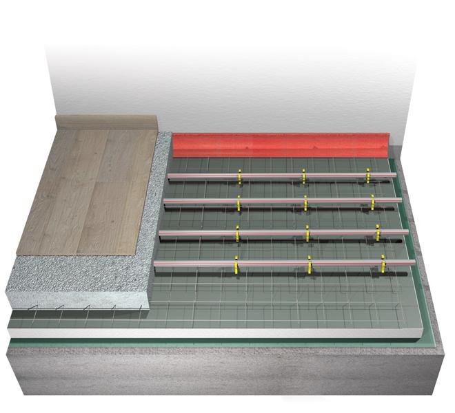 Sistema radiante a pavimento Eurotherm eurogrid con rete acciaio zincato
