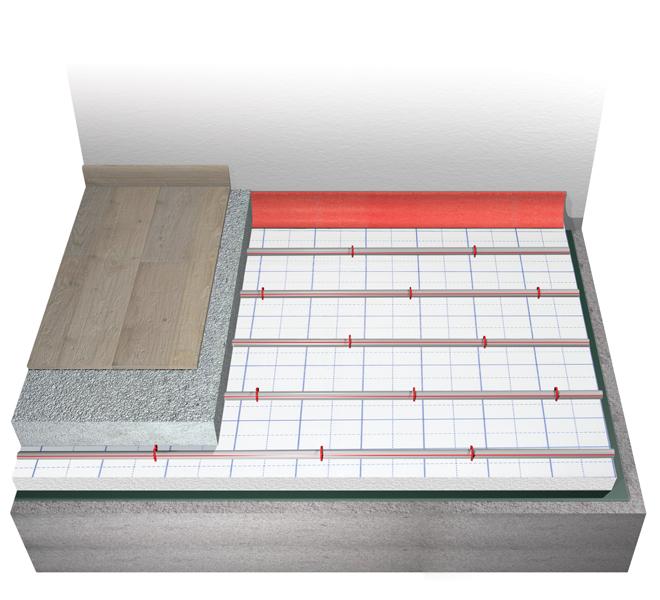 Sistema radiante a pavimento Eurotherm europlus-acoustic con abbattimento del rumore da calpestio pari a 29 dB