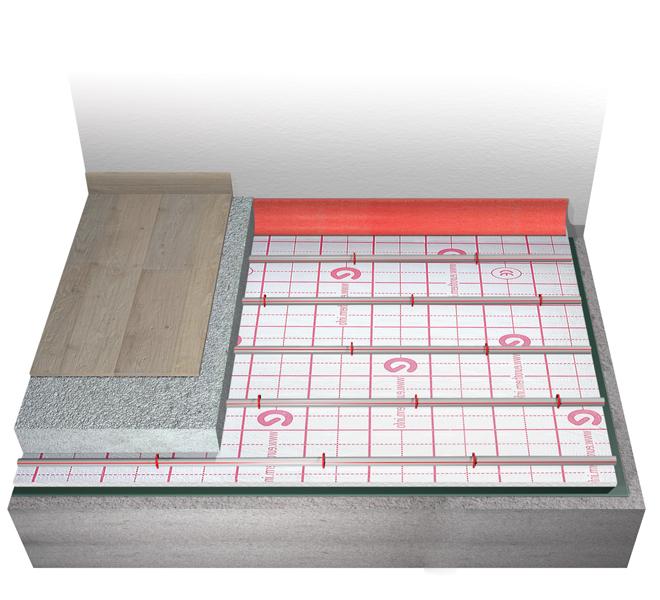 Sistema di riscaldamento e raffrescamento a pavimento a basso spessore Eurotherm europlus-ten