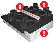 Sitema radiante bugnato preformato Eurotherm euroflex con guaina di protezione
