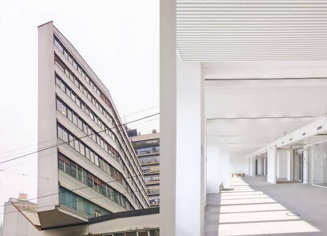 Impianto radiante a soffitto metallico per la riqualificazione edificio Luigi Moretti, Corso Italia 13 a Milano